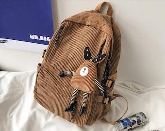 Backpack, Corduroy Backpack, Corduroy Bag, Student Backpack, School Bag, Corduroy Bag, Rucksack, School Rucksack, Rucksack Corduroy, Bags