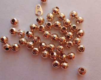 Gorgeous Light Rose Gold 4mm Round spacer beads balls - 50 OR 100pcs