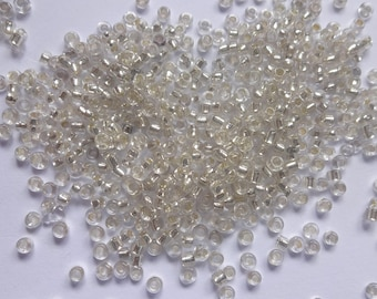 50 gms of Foiled / Silver lined 2mm (11/0) Czech Glass Clear Seed Beads Rocailles