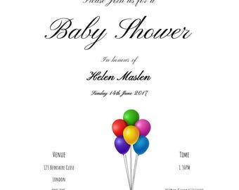 Baby shower invitations, baby shower invites, invitations, Elephant baby shower invitations, baby Elephant baby shower, neutral invitations