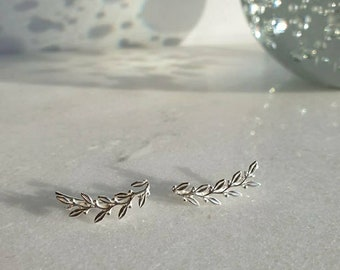 LAUREL recycled silver earclimbers   recycled silver earclimbers   recycled silver earclimbers   leaf pattern earclimbers   earclimbers