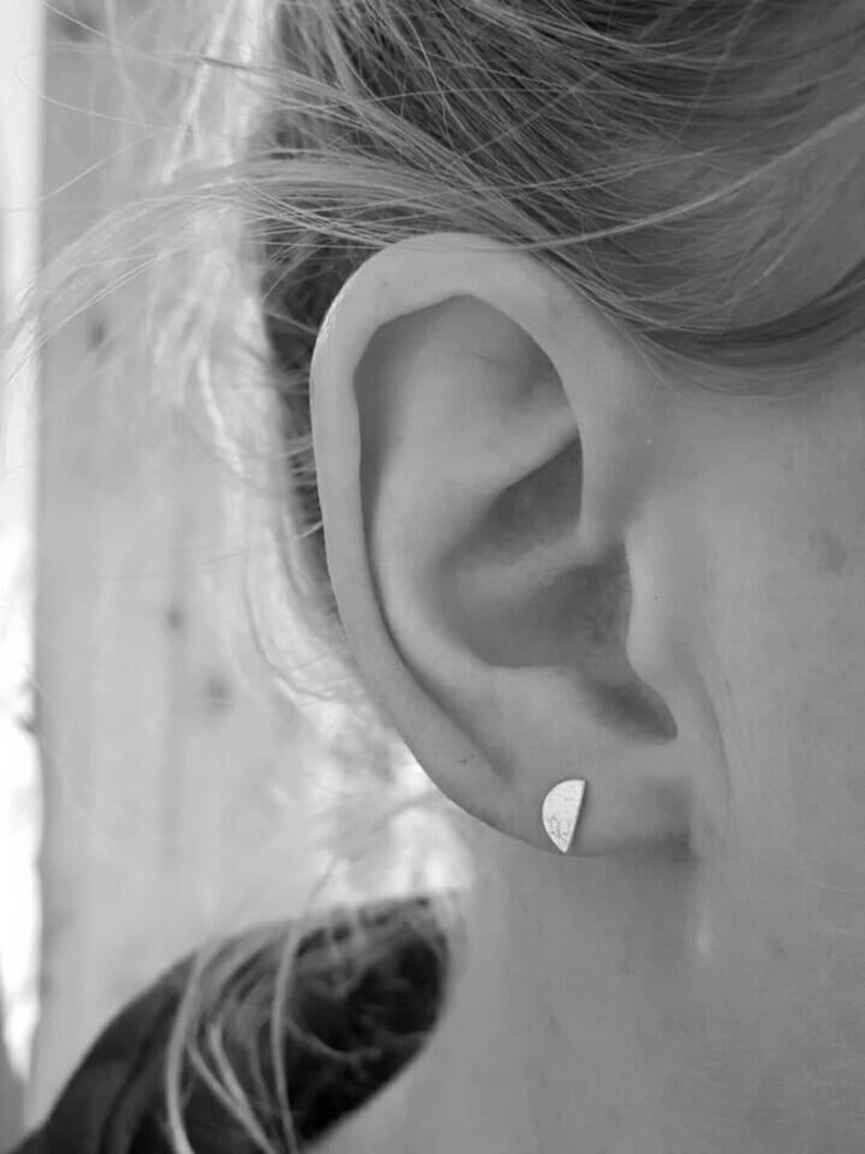 tiny moon earrings silver half moon studs textured moon studs half moon studs half moon studs earrings Half moon lace print studs