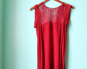 20s Red Flapper Dress with Lace Yolk - AS IS