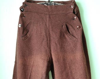 40s Brown Wool Trousers -- RARE!!