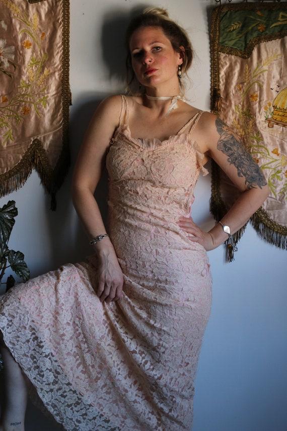1930s Pink Lace Bias Cut Dress