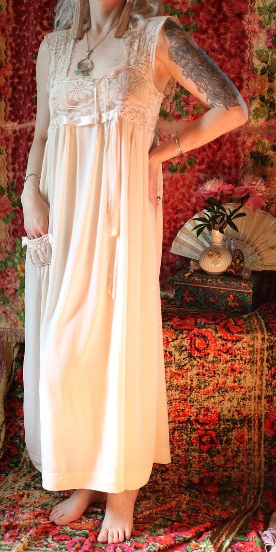 Antique Ivory Edwardian Silk & Crochet Slip Dress