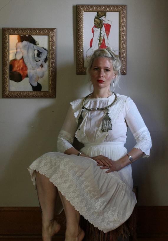 Antique Edwardian Ivory Sheer Lawn Dress w/ Embroi