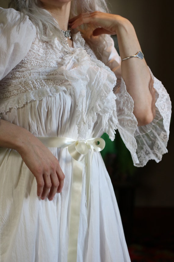Antique Victorian Cotton & Lace Nightgown with Sat
