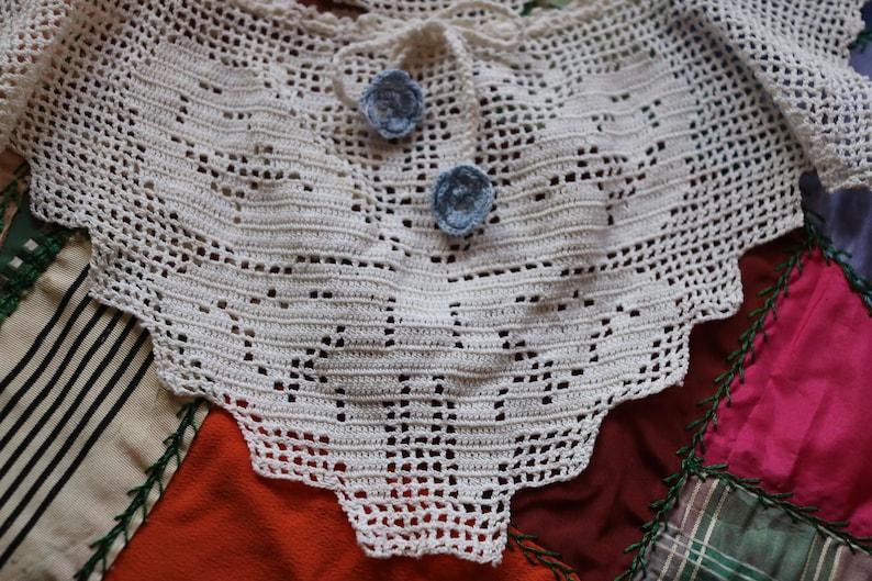 Antique Victorian Crochet Butterfly Collar w Blue Flower Drawstring