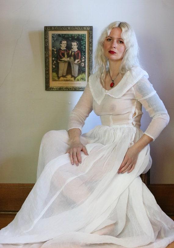 Vintage 1930s Sheer Ivory Organza Wedding Gown