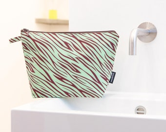 Toiletry bag, cosmetic bag, tiger, turquoise, toiletry bag large