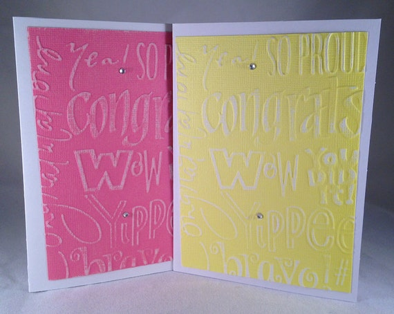 set of 5 congrats words classic congratulation cards etsy