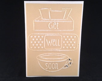 Set of 5 Embossed Get Well Soon CLASSIC Cards