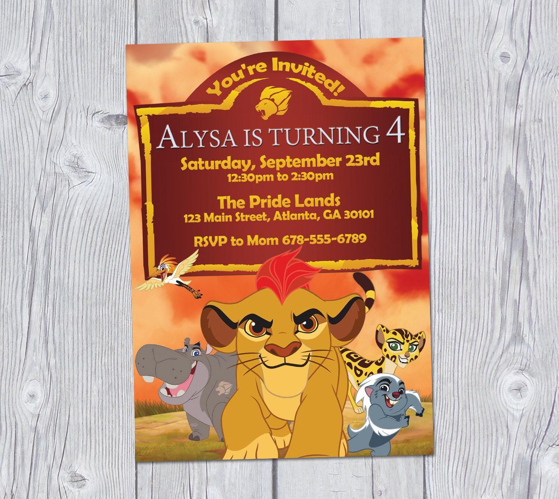 Lion Guard Invitation 5x7 Birthday Party Printable Digital King Kion