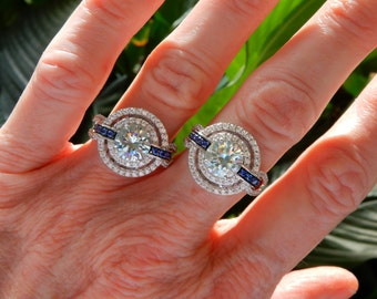 Blue  White 3.22 ct MOISSANITE Solitaire Statement Ring Size 7 Rhodium Over Solid 925 SILVER  accents FANTASY