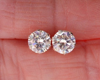 1895568e7 Fiery WHITE 1.06 to 1.82 TCW White Moissanite Stud Earrings 925 Solid  Sterling Silver