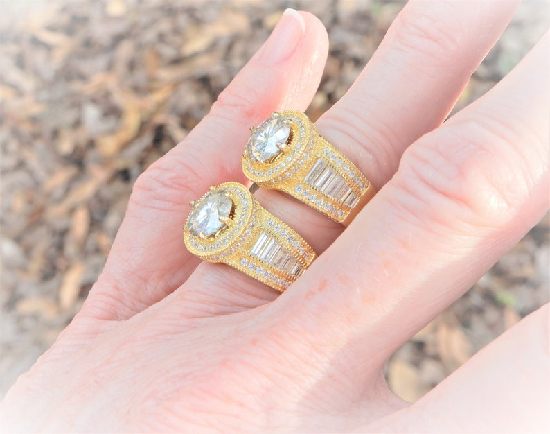 MIDAS TOUCH White 1.80 ct MOISSANITE Halo Size 6 or 7 Ring 18kt Yellow Gold Over 925 Solid Sterling Silver 8.20 mm cz baguette accents