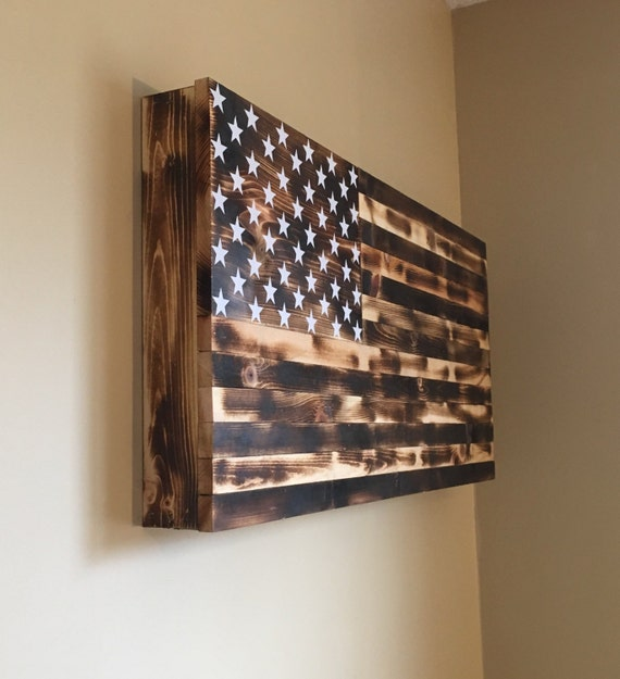 Burnt American Wooden Flag Hidden Gun Cabinet Secret Etsy