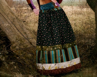 To Rajasthan and Back Again  -Banjara Inspired Skirt - Tiered Patchwork - Adult / Women's Maxi Long Drawstring - OOAK Handmade in Kansas