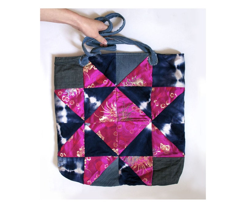 Blue Pink Bombshell One-of-a-kind Patchwork Tote Bag  Reclaimed Denim /& Brocade  Eco-friendly Market Tote Oversized Purse ready to ship