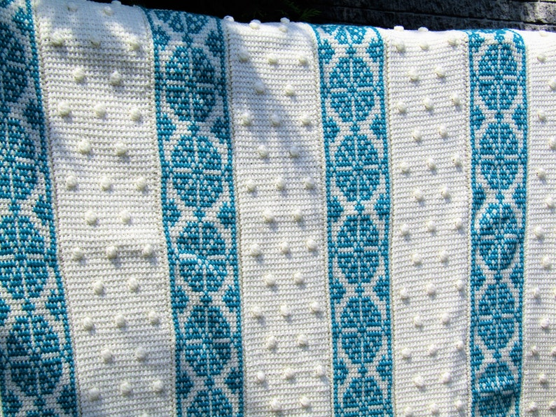 Throw Size Teal And Cream Embroidered Afghan Stitch Blanket Etsy