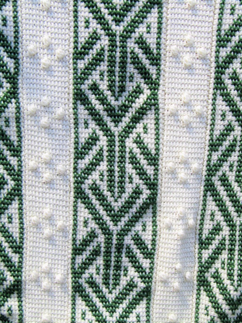 Throw-Size Forest Green and Cream Afghan Stitch Embroidered Blanket; Embroidery and Bobbles Crochet Blanket