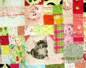 Queen Size Custom Baby & Little Girl Clothing Memory Quilt; Onesie and Sleeper Quilt