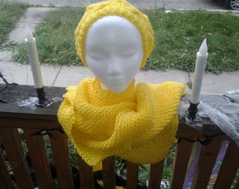 Hand knitted Beret and shawl
