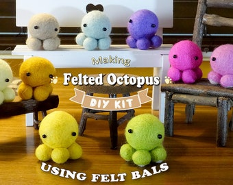 Make 5 Felted Octopus Using Felt Balls - Needle Felting Kit - pick your own colors