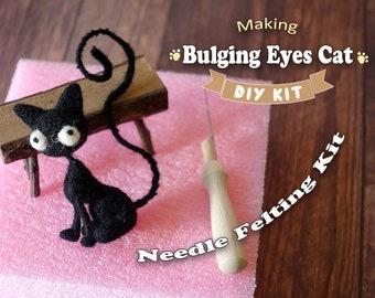 Making Bulging Eyes Cat - Needle Felting Kit