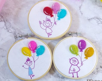 Balloon Girl Hoop - Beginner Needle Felting Kit - 3 designs - Handmade DIY kit - 4 inch