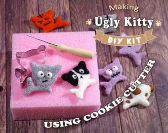 Making Ugly Kitty Using Cookie Cutter - Needle Felting Kit