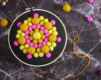 "Felt Ball Mandala Kit - 8"" Sunrise Color, sewing kit, beginners needlecraft, hoop art, DIY, Stitching Gift"