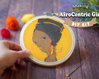 Afro Centric Girl #1 Hoop - Beginner Needle Felting Kit