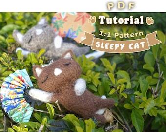 PDF - Sleepy Cat Needle Felting Tutorial + Pattern