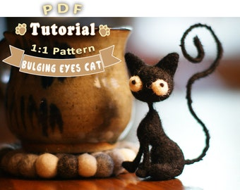 PDF - Bulging Eyes Cat Needle Felting Tutorial + Pattern