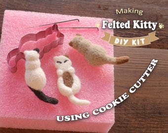 Making Felted Kitty Using Cookie Cutter - Needle Felting Kit