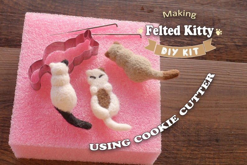 Making Felted Kitty Using Cookie Cutter  Needle Felting Kit image 0