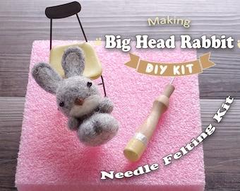 Big Head Rabbit - Needle Felting Kit