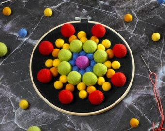 "Felt Ball Mandala Kit - 8"" Rainbow Star, sewing kit, beginners needlecraft, hoop art, DIY, Stitching Gift"