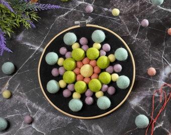 "Felt Ball Mandala Kit - 8"" Pastel, sewing kit, beginners needlecraft, hoop art, DIY, Stitching Gift"