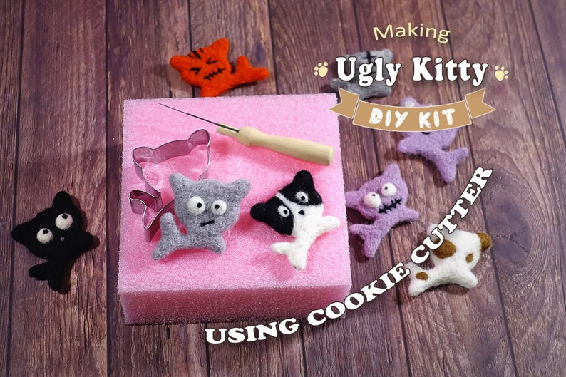 Making Ugly Kitty Using Cookie Cutter  Needle Felting Kit image 0