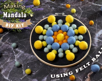 "Felt Ball Mandala Kit - 8"" Yellow Blue, sewing kit, beginners needlecraft, hoop art, DIY, Stitching Gift"