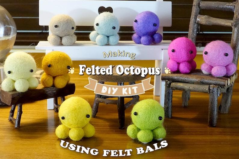 Make 5 Felted Octopus Using Felt Balls  Needle Felting Kit  image 1