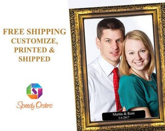 Large Personalized Gold Vintage Wooden Selfie Frame Social Media Photo Frame , Wooden frame photo booth, Wedding Photo booth ;1001176