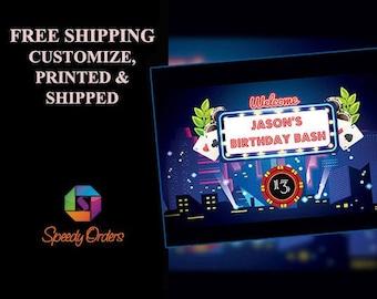 Large Custom Las Vegas Casino Birthday banner, Vegas Party, Casino Decorations, Casino theme party, Casino Night, poker party ;10000380