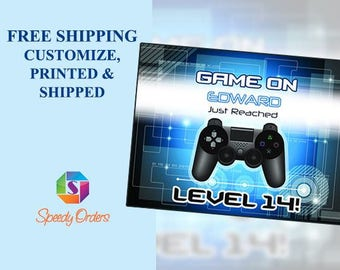 Custom Blue Glow Video Game concept with controller banner, level Up Birthday Banner, colorful Party Decorations, Birthday Banner; 10000273