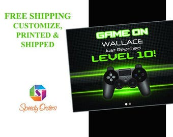 Large Personalized Video Game concept with controller banner, level 10 Birthday Banner, colorful Party Decorations, Gaming Banner ; 10000272