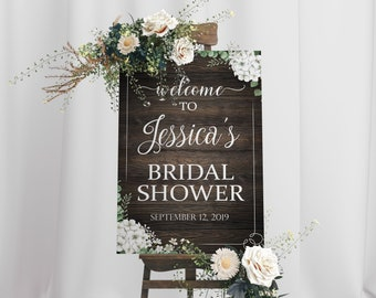 03170acf4dd White Flower Bridal Shower Sign - Rustic Wedding Banner - Welcome Party Sign  - Bridal Shower Sign   81000138