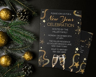 custom new years party invitation thank you cards new years eve party black and gold cheers holiday party nye invitation8109010